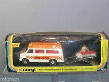"CORGI TOYS MODEL No.405 CHEVROLET SUPERIOR 61 AMBULANCE ""UNFALLWAGEN""   VN MIB"