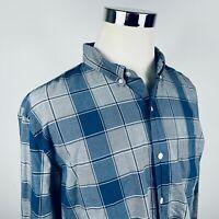 Bonobos Mens 2XL Slim Fit Button Down Shirt Gray Navy Blue Plaid 100% Cotton