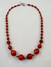 """Vintage Sterling Silver Native American Reconstituted Coral Beads Necklace 22"""" L"""