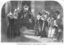 MARCHAL Return from the Bal masque - Antique Print 1857