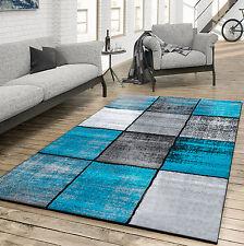 Teppich Wohnzimmer Modern Kariert Meliert Grau Schwarz Türkis