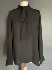 Forever 21 Black Sheer Pussy Bow Neckline Long Sleeve Blouse Size L