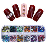 3D AB Color Nail Rhinestone Marquise Heart Flat Bottom Nail Art Decoration Tips