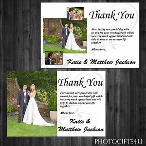 Personalised WEDDING THANK YOU Cards With Your Pictures - Inc Free Envelopes