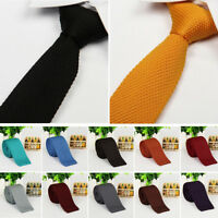 Mens Fashion Solid Tie Knit Knitted Tie Necktie Narrow Slim Wedding Skinny Woven