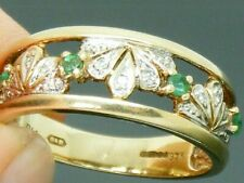 9ct Gold Emerald & Diamond Hallmarked  ring size P maker B&B
