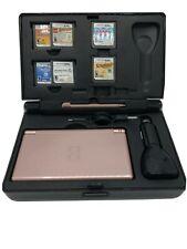 Nintendo Pink DS Lite USG-001 Stylus, Screen Protector, Case, 6 games, USB, car