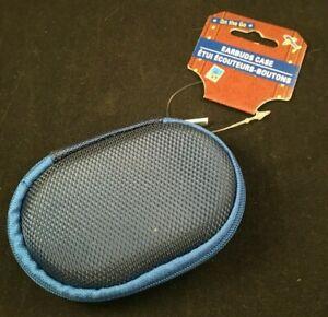 Earbuds Case - Hard Sides - Zipper - Earbud/Cord Storage - Oval - Blue