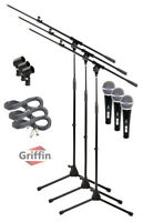 Microphone Boom Arm Stand 3 Pack Holder XLR Cable Cardioid Dynamic Mic Clip