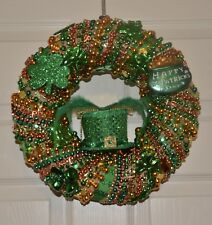 St Patricks Day Wreath - Handmade One Of A Kind With Mardi Gras Beads
