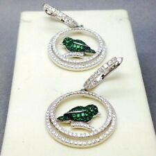 STUNNING 925 STERLING SILVER MICRO-PAVE GREEN CUBIC ZIRCON BIRD EARRINGS  373