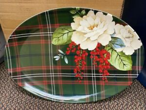 """NEW Williams Sonoma Green Plaid Peony Floral Christmas Party 18"""" Oval Platter"""