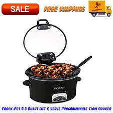 Crock-Pot 4.5 Quart Lift & Serve Programmable Slow Cooker, Dishwasher Safe Black