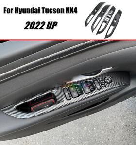 For 2022 Hyundai Tucson NX4 Carbon Fiber Window Armrest Lift Switch Cover Trim