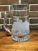 Stetson Clear Glass Stein Mug, Etched with Cowboy and Herd of Horses