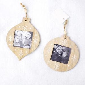 Christmas Wooden Photo Frame Ornament New Year Christmas Tree Pendant Cra O^