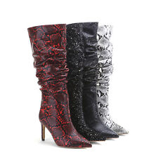 Women's High Heel Snakeskin Microfiber Leather Pointed-Toe Mid-Calf Slouch Boots