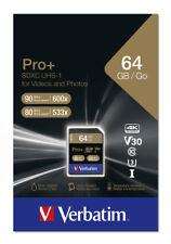 Verbatim SDXC Karte 64GB Speicherkarte Pro+ UHS-I U3 4K Class 10
