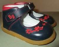 BUBBLE GUMMERS Size 3 (18) Toddler Girls Leather Navy Blue & Red Mary Jane Shoes