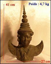 Statue Thaïlandaise en Bronze Asie du Sud Est Femme en Costume Traditionnel XIXe