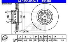 2x ATE Disques de Frein Avant Ventilé 314mm Pour AUDI A8 24.0130-0104.1