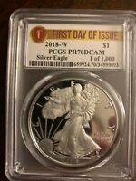2018 W Proof Silver Eagle PCGS PR70DCAM First Day of Issue