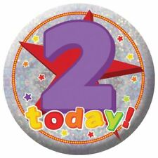 Holography Happy 2nd Birthday Badge 2 Today Party Celebration