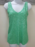 J.CREW Tank Top Mint Green Sequined Sleeveless Blouse Casual Sparkly Size XS
