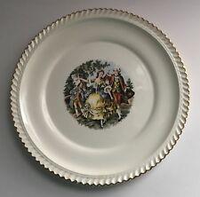 """Marker Pottery Co. Dinnerware Lover's Scene 22K Gold Stamp Dinner Plate 10"""""""