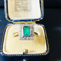 Art Deco 18ct, 18k, 750 Gold Platinum, Emerald & Diamond (1.50ct) Cluster Ring