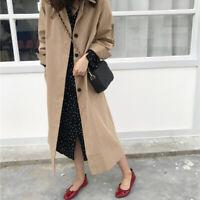 Women Trench Coat Long Sleeve Double Breasted Long Pocket Straight Windbreak Kw