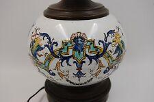 ANTIQUE ITALIAN MAJOLICA  HAND PAINTED LAMP