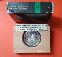 España 5000 PESETAS 1992 PLATA FDC ESTUCHE 4ª Serie NO CERTIFICADO V CENTENARIO