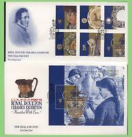 New Zealand 1992 Royal Doulton Ceramics set & m/s on two First Day Cover