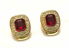 Vintage CHRISTIAN DIOR Clip On Earrings Gold Plated Red Swarovski Crystal