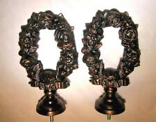 """2 French Rose Oil Rubbed Bronze Metal Drapery Curtain Rod Finials New 6 X 3x1.5"""""""