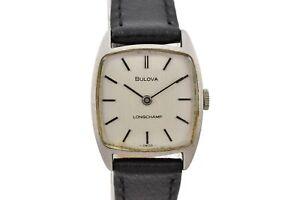 Vintage Bulova Longchamp 7460-2 Steel Manual Wind Ladies Watch 1784