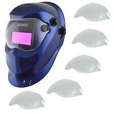 AUTO Oscuramento Saldatori Saldatura Maschera Casco macinazione Blue & 5 x Copriobiettivo