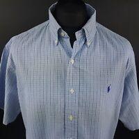 Ralph Lauren Mens Vintage Shirt XL Short Sleeve Blue Classic Fit Check Cotton