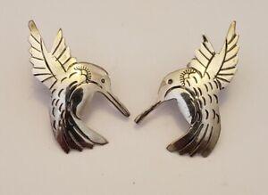 Vintage Southwestern Sterling Silver Hummingbird Earrings Posts