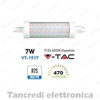 Lampadina led V-TAC 7W = 40W R7S bianco naturale 4000K VT-1917 SMD tubolare faro