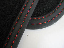 Fußmatten für Alfa 156 in Velours Deluxe schwarz Nubukband Doppelnaht rot