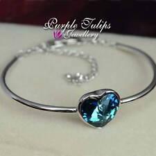 18CT Rose Gold GP Ocean Blue Heart Bangle Bracelet Made With SWAROVSKI CRYSTALS