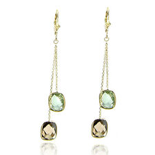 14K Yellow Gold Dangle Earrings With Smokey Topaz And Green Amethyst Gemstones