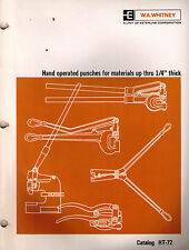 W.A. Whitney hand Operated Punches Catalog