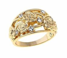 "Roberto By RFM Disney's ""Beauty & the Beast  & the Rose"" Goldtone Motif Ring Sz8"
