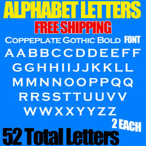 """Alphabet Letters Copperplate Gothic Bold Font 3/4"""" to 5"""" sizes FREE SHP STICKERS"""