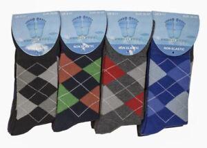 12 PAIRS MENS NON ELASTIC SOFT DIABETIC SOCKS MENS ARGYLE DESIGN PATTERN SOCKS