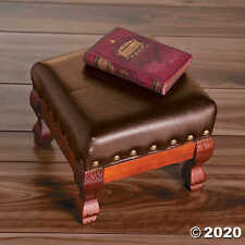 Foot Stool Fine Brown Wood Faux Leather Nailhead Trim Elegant.