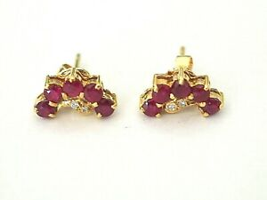 14K Yellow Gold Vintage Natural 1.00cts Thai Rubies & CZ Small Stud Earring